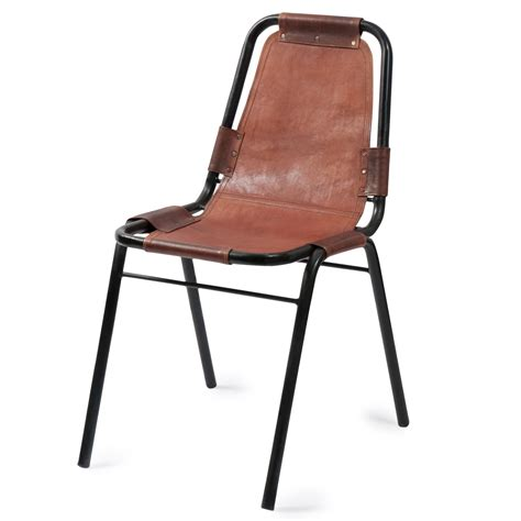 chaise metal vintage industrial leather chair wagram maisons du monde