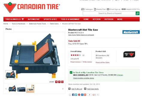 mastercraft tile saw buy or 28 images canadian tire