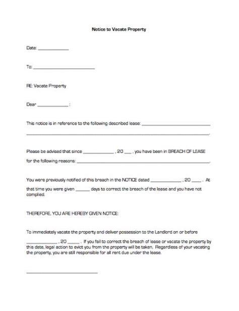 free oregon 60 day notice to vacate form printable sle notice to vacate template form real