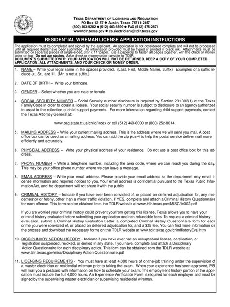 wireman licence application form   templates