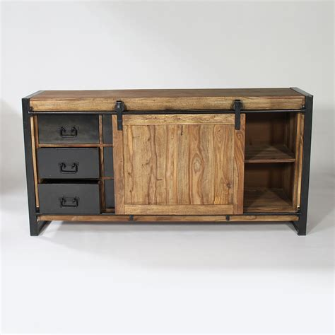 meuble cuisine en metal buffet industriel porte coulissante bois naturel made in