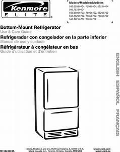 Kenmore Elite 59676052702 User Manual Bottom Mount