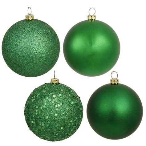 4 inch green assorted ball ornaments box of 12 balls