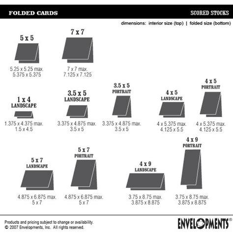 envelope size chart ideas  pinterest