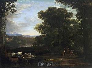 Java Script Code Examples Landscape With Cattle And Peasants Claude Lorrain