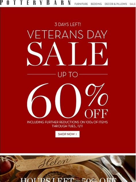 pottery barn ls sale pottery barn veterans day sale ends in days plus hours