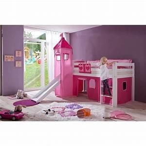Lit En Hauteur Enfant : chambre enfant lit mi hauteur avec toboggan rose comforium ~ Melissatoandfro.com Idées de Décoration