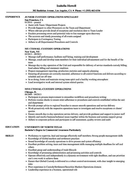 custody operations resume samples velvet jobs