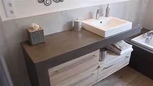 Meuble Sous Plan De Travail : salle de bain avec plan de travail en bois ~ Teatrodelosmanantiales.com Idées de Décoration