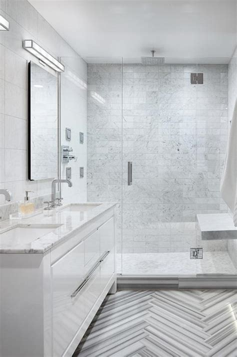 marble herringbone tile floor cottage bathroom
