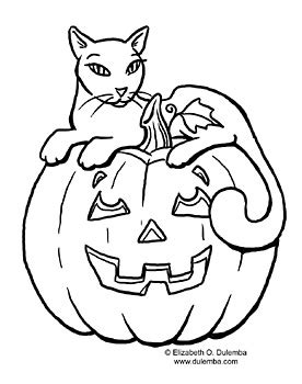 dulemba: Coloring Page Tuesday! - Pumpkins and Cats!