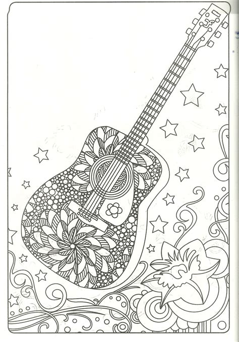 guitar coloring page  coloring pages adult coloring