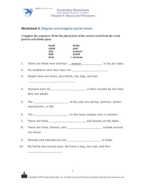 plural noun worksheet number 5