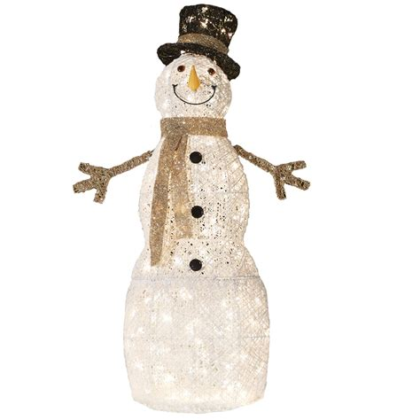 shop living pre lit snowman sculpture with