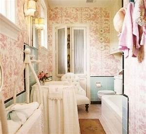 Pink printed wallpaper with light blue turquoise accents for Turquoise and pink bathroom