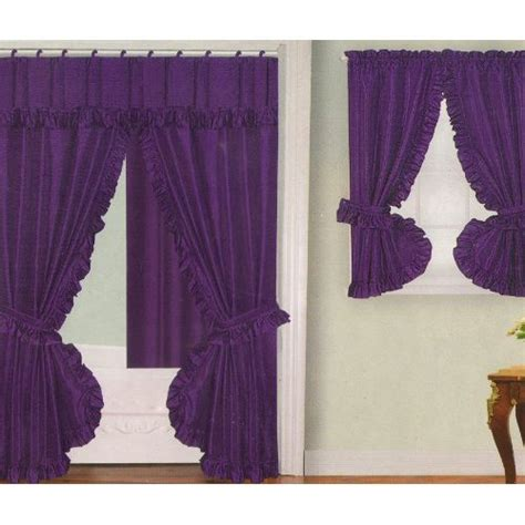 purple fabric swag shower curtain with matching