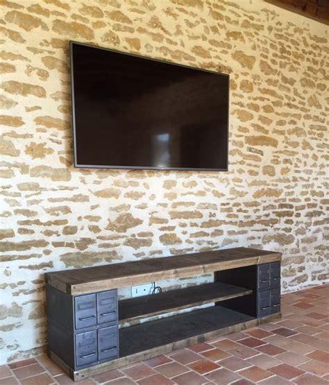meubles tv industriel bois et m 233 tal l or du temps