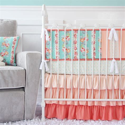 coral crib bedding coral mint and gold room design caden