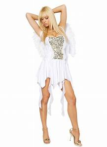 White Sexy Plicated Angel Costume Angel Costume For Women