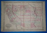 Vintage 1864 SOUTHWEST TERRITORIES Atlas Map ~ Old Antique ...