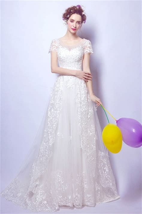 A Line Scoop Neck Short Sleeve Tulle Lace Wedding Dress ...