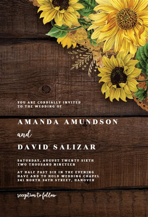 rustic sunflowers wedding invitation template