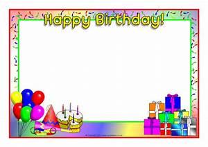 Happy Birthday A4 Page Borders  Sb4931