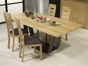 Table Chene Et Metal : table rectangulaire ndre en ch ne et m tal epaisseur du ~ Teatrodelosmanantiales.com Idées de Décoration
