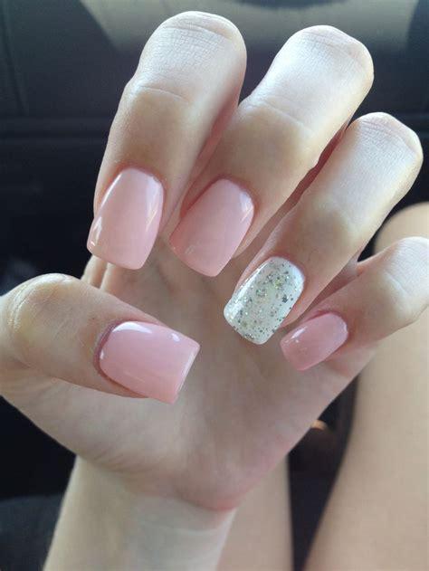 light pink acrylic nails glitter white nails
