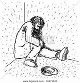 Homeless Drawing Illustration Left Freehand sketch template