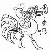 Coloring Trumpet Rooster Playing Pages Template Sheet Ice Trombone sketch template