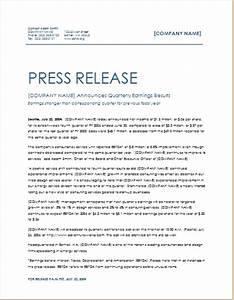 quarterly earning press release template word excel With microsoft word press release template