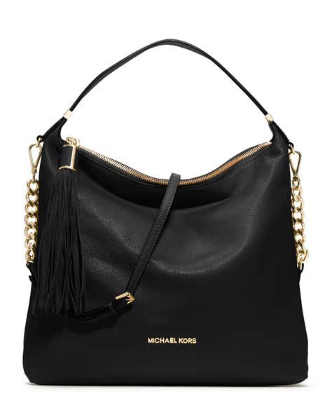 michael kors large weston pebbled shoulder bag  black lyst
