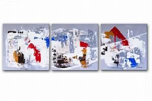 Tableau Triptyque Moderne : tableau triptyque moderne rectangle gris blanc tableaux contemporains triptyque gris blanc rouge ~ Teatrodelosmanantiales.com Idées de Décoration