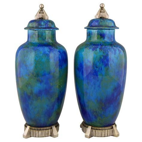 deco vase deco pair of ceramic vases urns with blue glaze sold