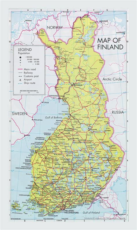 road map  finland  cities  airports vidianicom