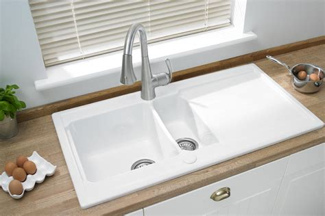 ceramic     inset sink  drainer area