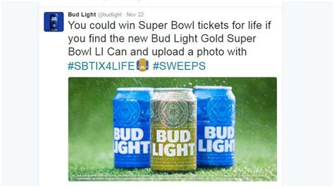 bud light gold can contest bud light offers one lucky winner super bowl tickets for a