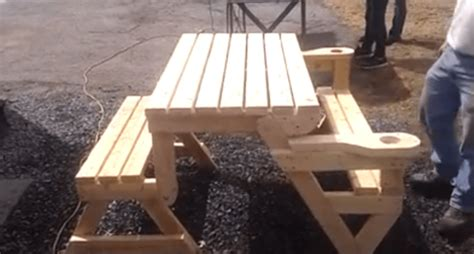 plans  picnic table bench combo uniques woodworking