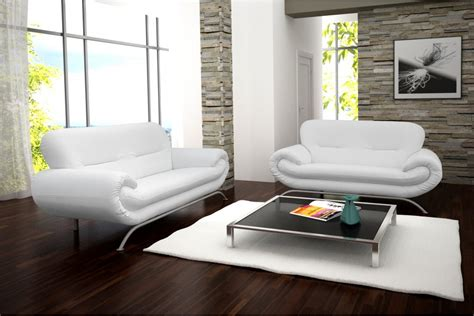 canape simili cuir blanc design