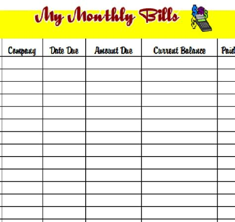 monthly bills template the pdf template and keep track of your monthly bills organize bill
