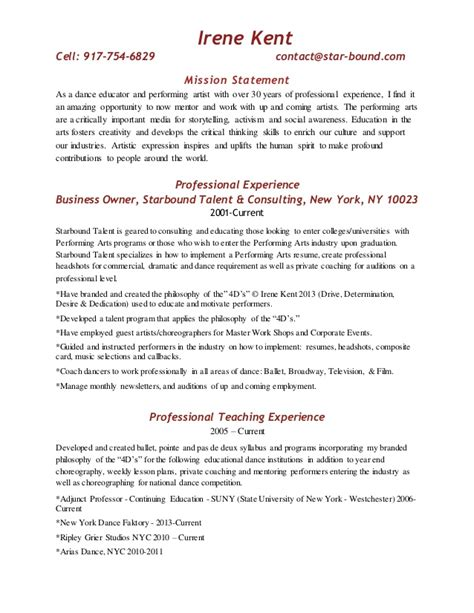 resume with mission statement