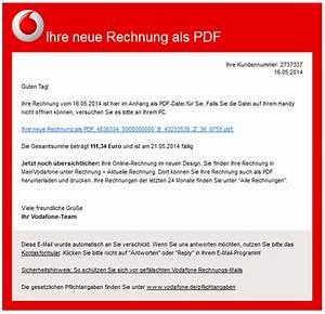 Rechnung Vodafone : phishing mail alerts vodafone ihre rechnung vom steht als pdf bereit ~ Themetempest.com Abrechnung