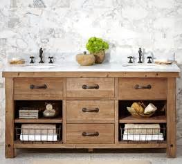 benchwright double sink console wax pine finish