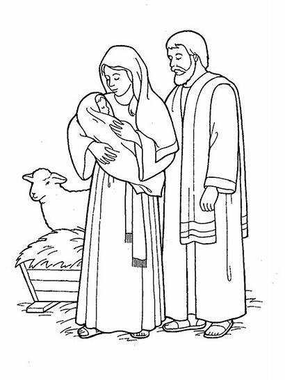 Jesus Mary Nativity Joseph Coloring Pages Christmas