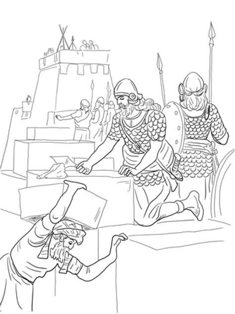 nehemiah builds  walls  tower  jerusalem coloring page supercoloringcom