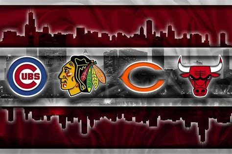chicago sports teams poster chicago cubs bulls blackhawks