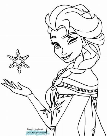 Elsa Coloring Pages Frozen Cartoon Colouring Disney