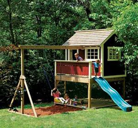 Backyard Play House by Outdoor Wooden Playhouse Swing Set Detailed Plan