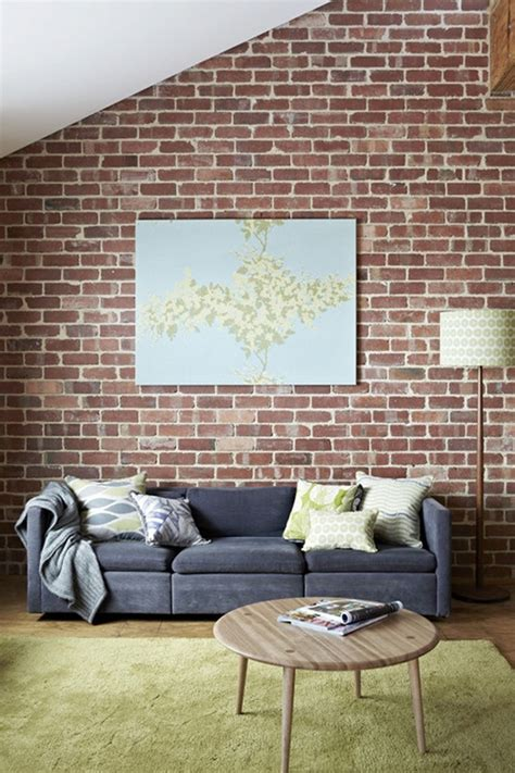 brick wall grey sofa living rooms pinterest green